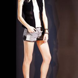 Patched Silver Moon leather trim denim shorts, $275.