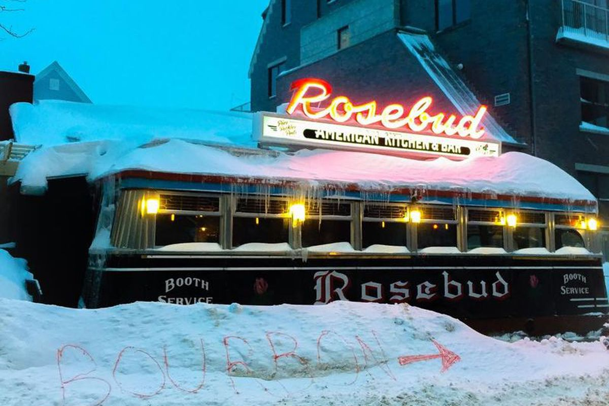 Boston restaurants are covered in a thick blanket of snow.