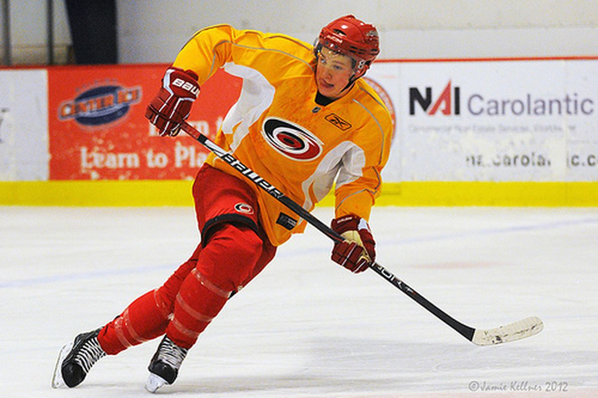 Jeff Skinner practices at Raleigh Center Ice on January 4, 2012.  Skinner was activated from injured reserve on January 15, 2012.  (author's photo)