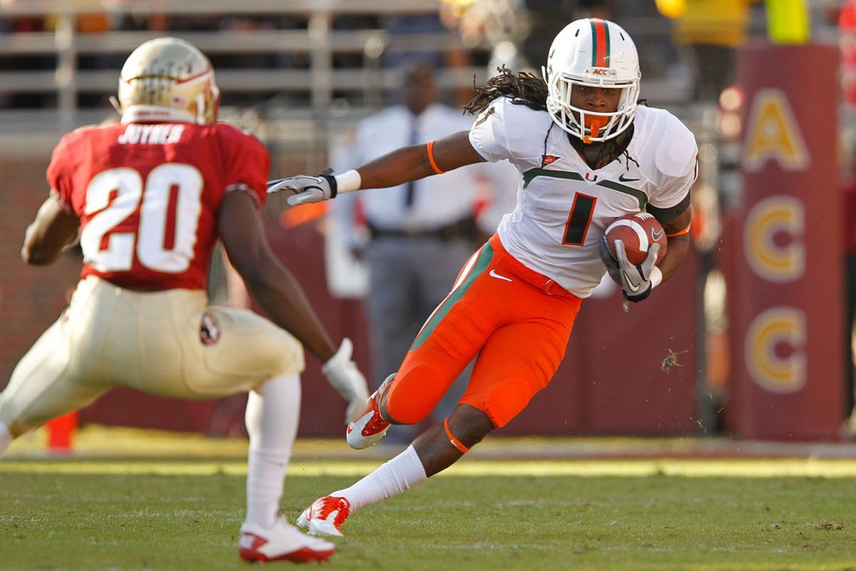 TALLAHASSEE, FL - NOVEMBER 12:  Allen Hurns #1 of the Miami Hurricanes rushes during a game  against the Florida State Seminoles at Doak Campbell Stadium on November 12, 2011 in Tallahassee, Florida.  (Photo by Mike Ehrmann/Getty Images)