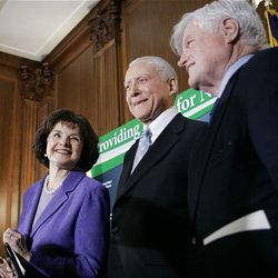 Sen. Dianne Feinstein, D-Calif., is joined by Sen. Orrin Hatch, R-Utah, and Sen. Edward Kennedy, D-Mass., on Capitol Hill April 10, 2007, as they wait to speak at a news conference to urge the Senate to pass the Stem Cell Research Enhancement Act.