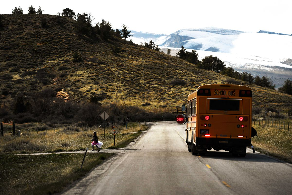A Wyoming Indian School bus drops off children at the Wind River Indian Reservation.