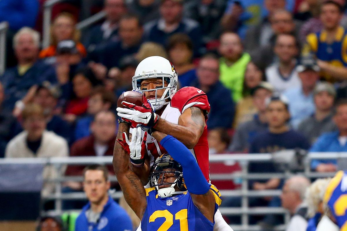 Former Los Angeles and St. Louis Rams CB Janoris Jenkins Rams breaks up a pass intended for Arizona Cardinals WR Michael Floyd in Week 13 of the 2015 season, December 6, 2015.