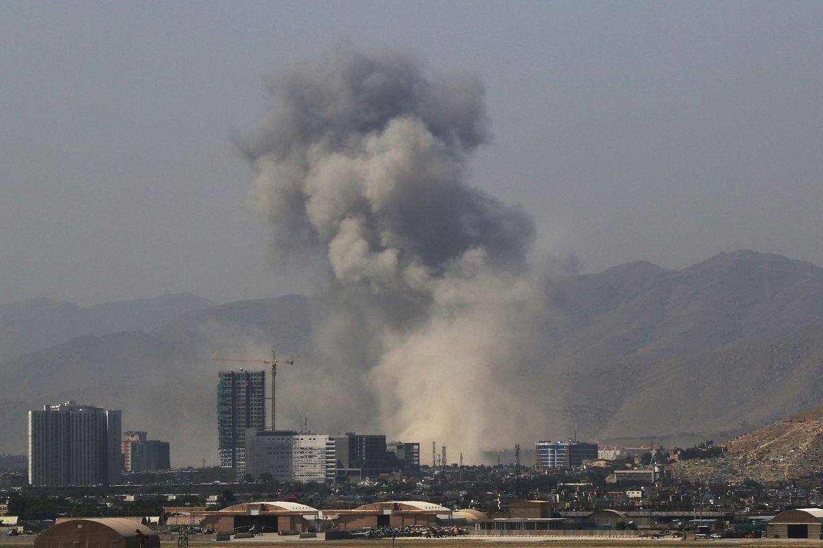 Smoke rises from the scene of a bombing in Kabul, Afghanistan, on July 1, 2019.