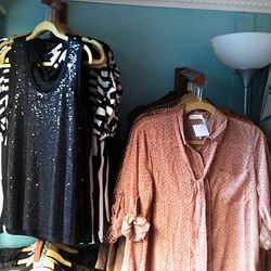Most of the truck's items fall in the under-$100 category. The sequined black top, above, is $38, while the printed blouse is $48.