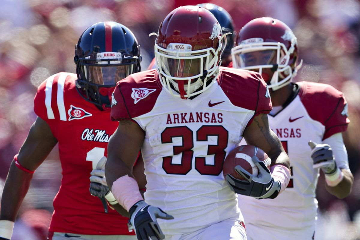 Dennis Johnson runs for a first-half touchdown against Ole Miss.  (Photo by Wesley Hitt/Getty Images)
