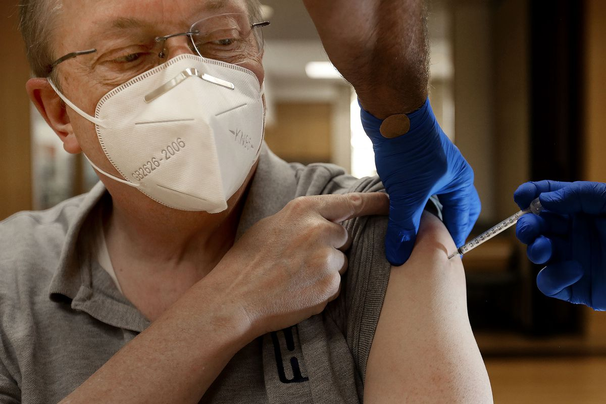 Bountiful resident Blaine Gardner, who is immunocompromised, gets a third COVID-19 vaccination in Bountiful.