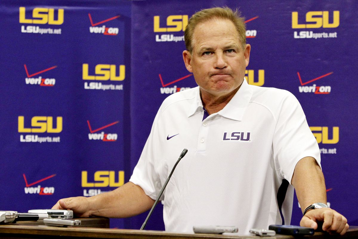 """""""Can Notre Dame really beat a double digit spread on foreign soil? Does Irish grass taste like Lucky Charms?"""" - Les Miles, contemplating this week's picks, probably   Mandatory Credit: Derick E. Hingle-US PRESSWIRE"""