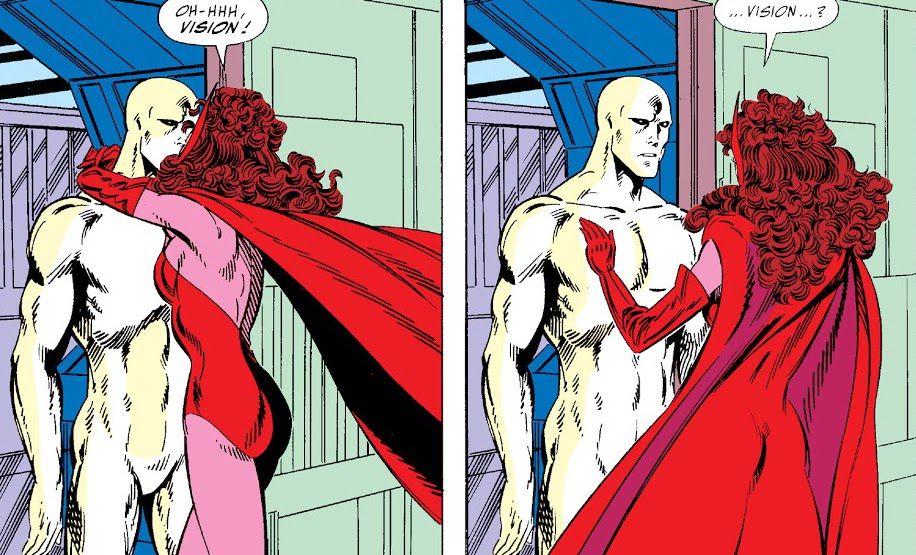 Wanda greets her reborn husband in West Coast Avengers #45