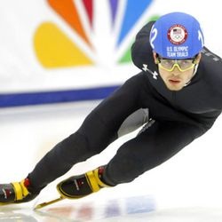 John-Henry Krueger (102) competes in the men's 1000-meters during the U.S.Olympic short track speedskating trials Sunday, Dec. 17, 2017, in Kearns, Utah. (AP Photo/Rick Bowmer)
