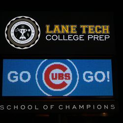 The display in front of Lane Tech College Prep HS, at Addison and Western