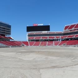 A view of the field area from just behind the end zone.
