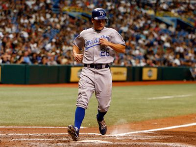 Pinch runner Ryan Freel #26 of the Kansas City Royals scores the go ahead run against the Tampa Bay Rays during the game at Tropicana Field on August 2, 2009 in St. Petersburg, Florida.