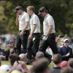 Europe's Sergio Garcia, left, Luke Donald and Graeme McDowell walk off the tee during a practice round at the Ryder Cup PGA golf tournament Wednesday, Sept. 26, 2012, at the Medinah Country Club in Medinah, Ill.