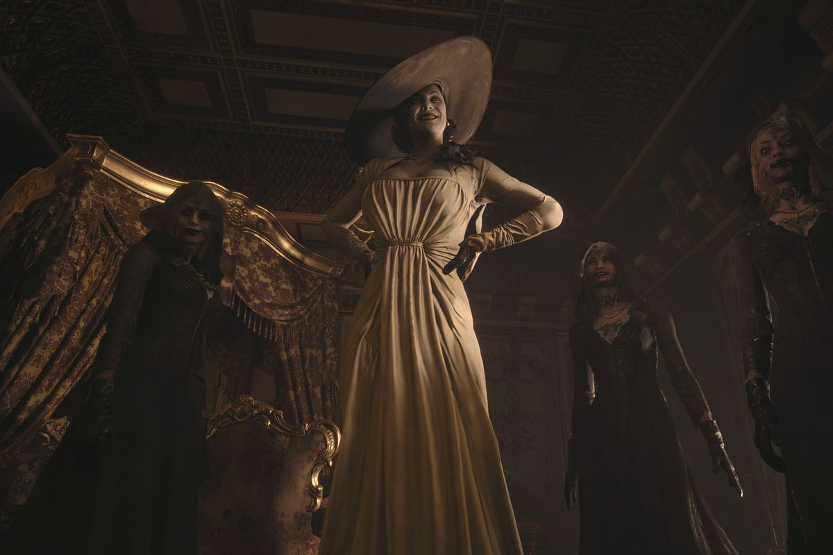 Resident Evil Village - a very tall and glamorous woman in a simple white gown and large hat stands over the camera, menacingly looking down.