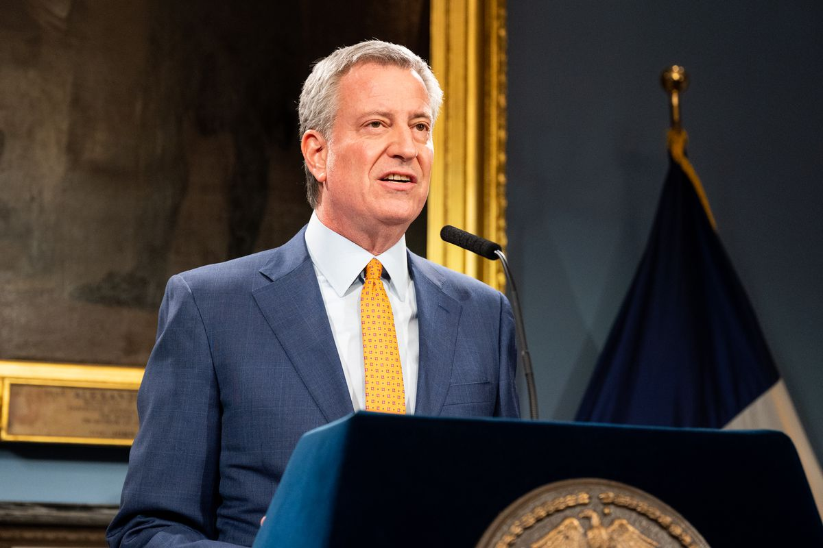Mayor Bill de Blasio speaks at a Press Conference about COVID-19 and the closing of Public schools in New York, US