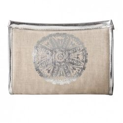 Mini Clutch in Natural Linen with Silver Medallion $12.99