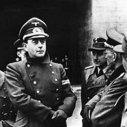 German Minister of Armaments Albert Speer, during an inspection tour through the fortification works on the Atlantic coast in France on May 28, 1943.