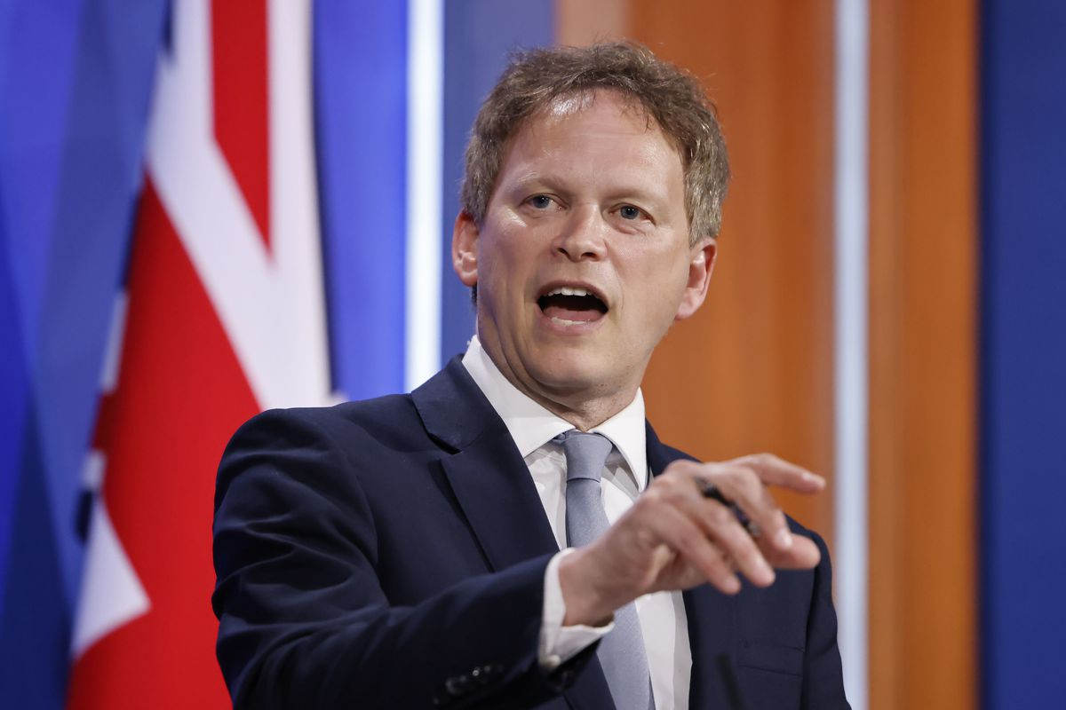 Britain's Transport Secretary Grant Shapps speaks about COVID-19 during a media briefing in Downing Street, London, Friday May 7, 2021.