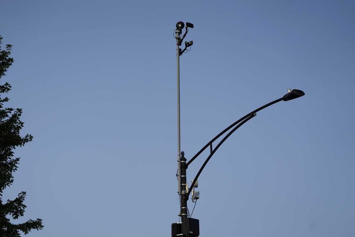 ShotSpotter equipment overlooks the intersection of South Stony Island Avenue and East 63rd Street in Chicago on Tuesday, Aug. 10, 2021.