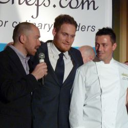 Giuseppe Tentori presenting Curtis Duffy with his award and reminiscing about their days at Charlie Trotter's.