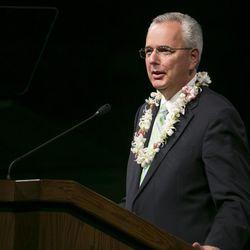 FILE - Elder James J. Hamula speaks during a devotional at BYU-Hawaii. Elder Hamula was released as a General Authority Seventy.