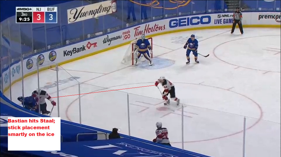 Part 6: Bastian checks Staal and the puck goes back into the corner.