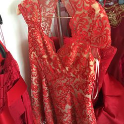 Red lace short dress, $100