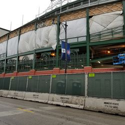 Tarp covers on the Addison Street side