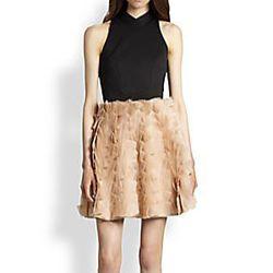 "<strong>Sachin + Babi</strong> Neoprene & Organza Dress, <a href=""http://www.saksfifthavenue.com/main/ProductDetail.jsp?PRODUCT%3C%3Eprd_id=845524446640719&R=848132044130&P_name=Sachin+%2B+Babi&sid=141A0058F4A0&Ntt=neoprene&N=0&bmUID=k6yQvs1"">$695</a> at"
