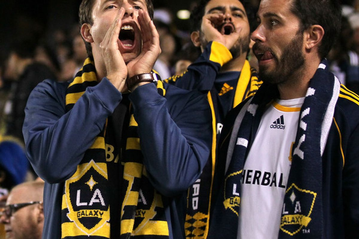 CARSON, CA - APRIL 28:  Los Angeles Galaxy fans shout at the referee  during the game against FC Dallas at The Home Depot Center on April 28, 2012 in Carson, California.  The game ended in a 1-1 tie.  (Photo by Stephen Dunn/Getty Images)