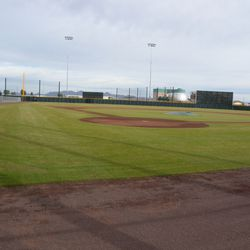 Closer view of batting-practice field. This was the only place where the water-treatment plant located north of the facility was visible
