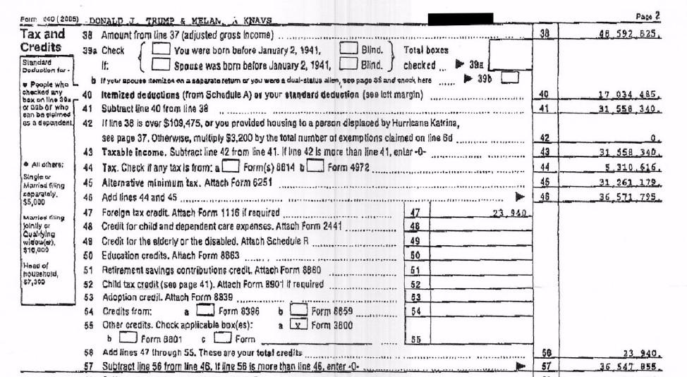 Trump's tax return (partial)
