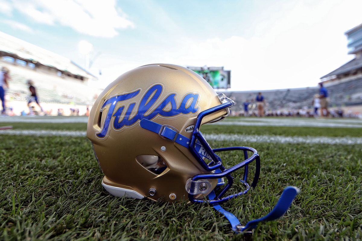 General view of Tulsa Golden Hurricane helmet on the field prior to a game between the Michigan State Spartans and the Tulsa Golden Hurricane at Spartan Stadium.