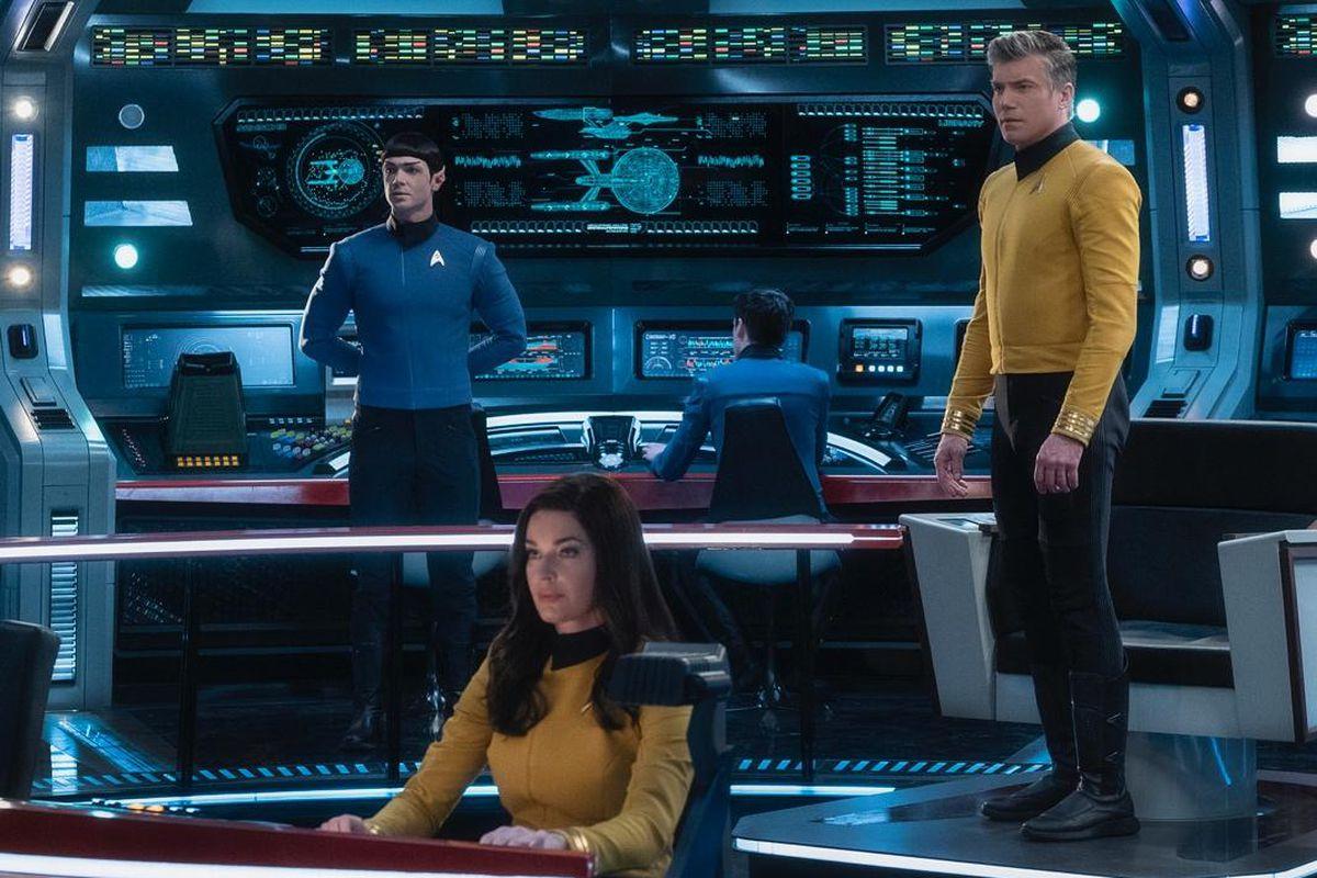 Anson Mount, Rebecca Romijn and Ethan Peck star in 'Star Trek: Strange New Worlds'