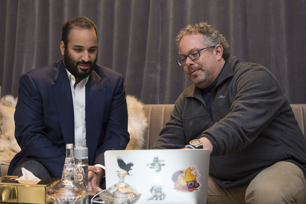 Photo of Crown Prince of Saudi Arabia Mohammed bin Salman Al Saud with executives of Magic Leap in Los Angeles, California, United States on April 3, 2018.