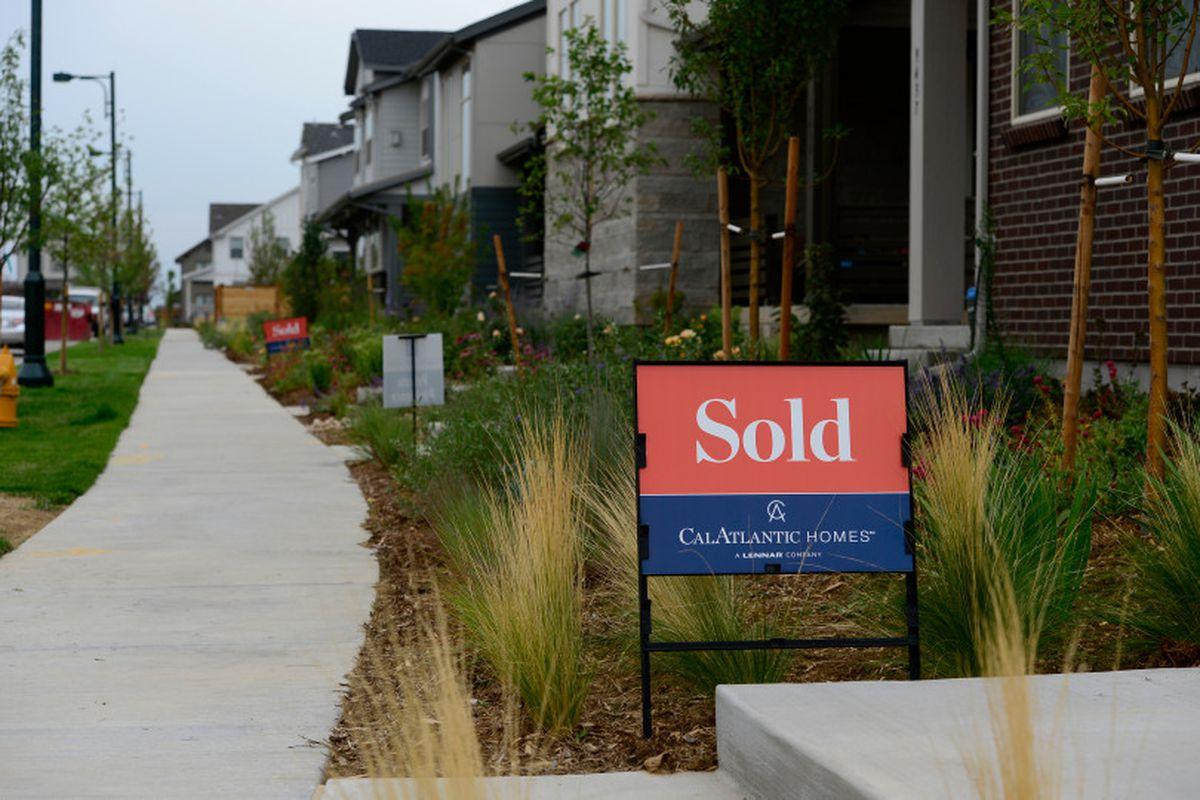 Sold signs can be seen on many of the homes in Stapleton on August 1, 2018, in Denver, Colorado.