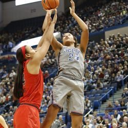 UConn's Napheesa Collier (24) puts up a shot over a Maryland defender at the XL Center in Hartford, CT on November 19, 2017.
