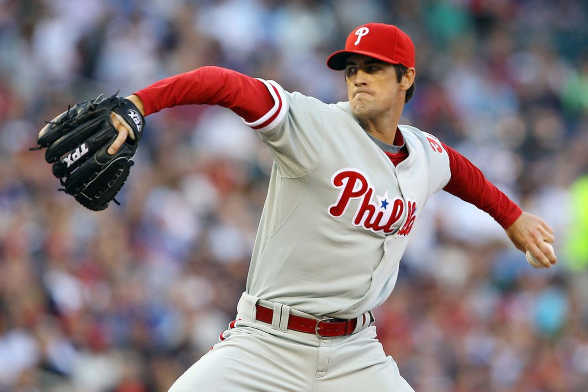 June 13, 2012; Minneapolis, MN, USA: Philadelphia Phillies starting pitcher Cole Hamels (35) delivers a pitch in the first inning against the Minnesota Twins at Target Field. Mandatory Credit: Jesse Johnson-US PRESSWIRE
