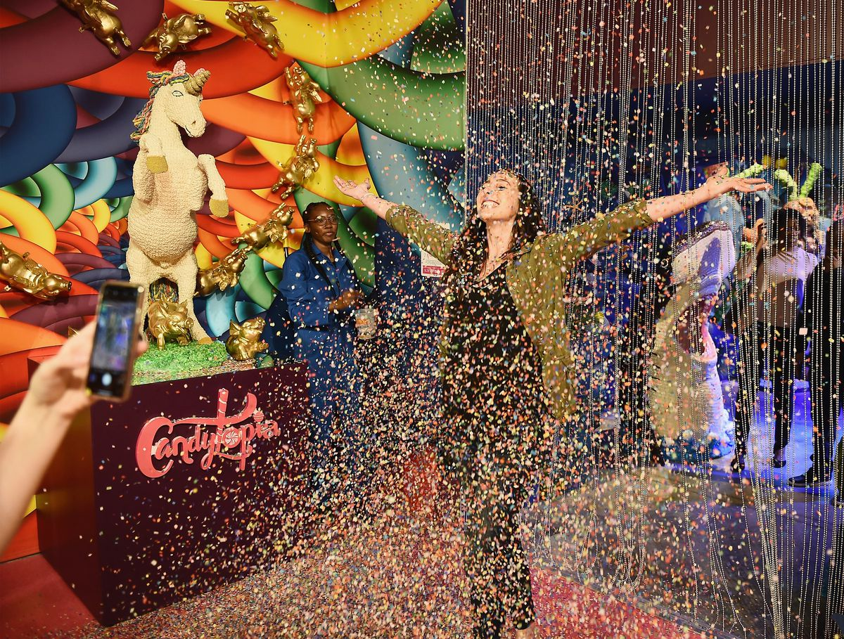 confetti with a person standing in it
