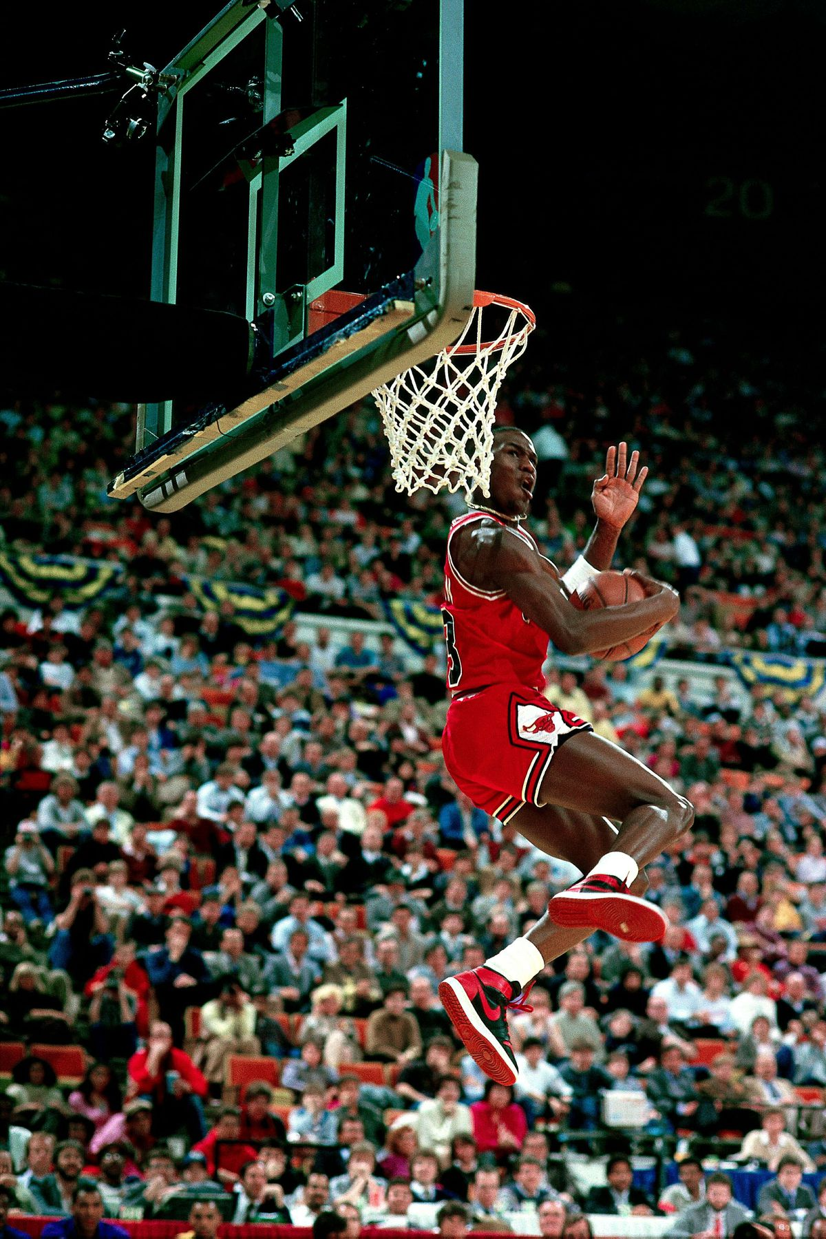 726b108a6a Michael Jordan goes for a dunk during the 1985 NBA All-Star Slam Dunk  Competition NBAE/Getty Images