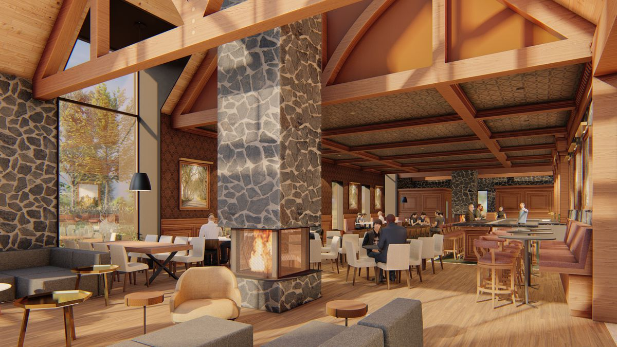 A rendering of a room with a high wooden ceiling, a stone fireplace built into a column, and assorted furniture