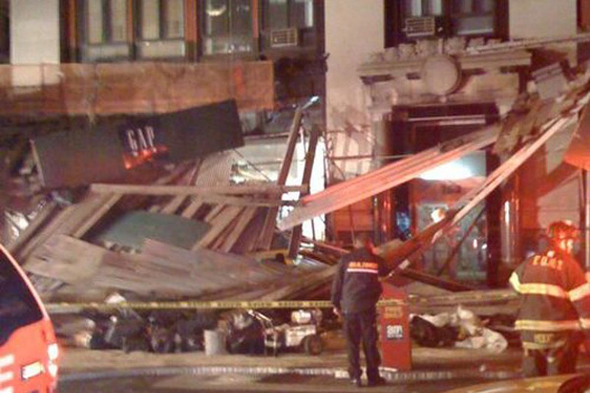 """Image via <a href=""""http://eastvillage.neighborhoodr.com/post/230353166/scaffolding-collapsed-on-8th-and-broadway-with"""">Neighborhoodr</a>"""