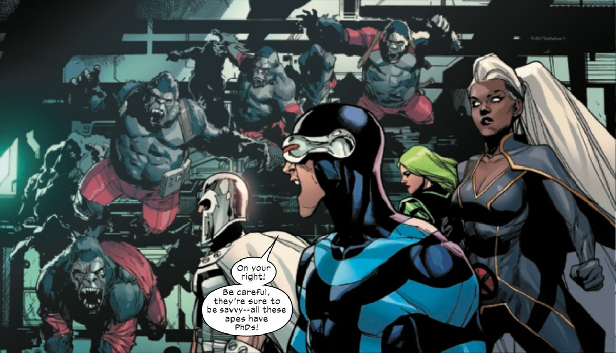 """""""Be careful, they're sure to be savvy — all those apes have PhDs!"""" Cyclops shouts as his team is attacked by a bunch of scientists-turned-gorillas in X-Men #1, Marvel Comis (2019)."""
