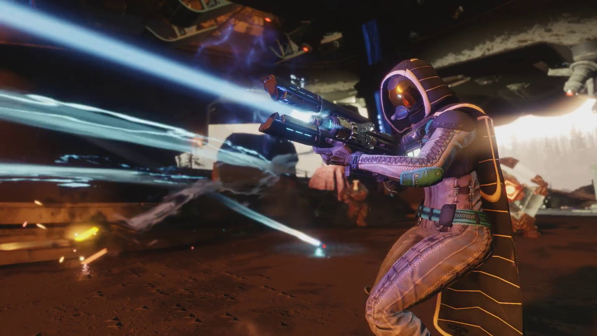 Destiny 2 - Guardian firing exotic trace rifle Coldheart