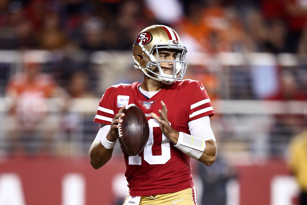 Jimmy Garoppolo of the San Francisco 49ers in action against the Cleveland Browns at Levi's Stadium on October 07, 2019 in Santa Clara, California.