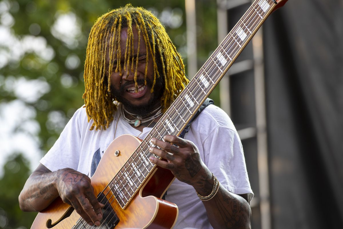 Thundercat performs at the Red Stage at Pitchfork music festival at Union Park, Saturday, Sept. 11, 2021.