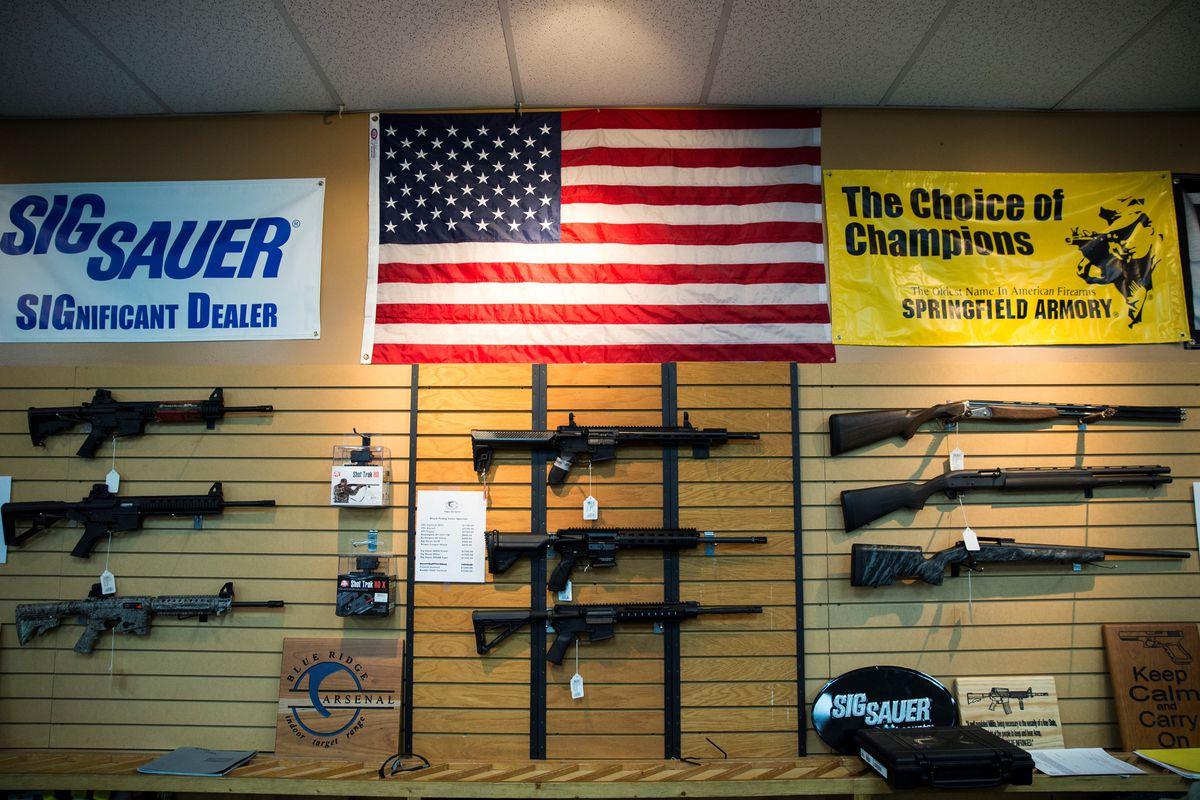 Assault rifles for sale at a gun store.