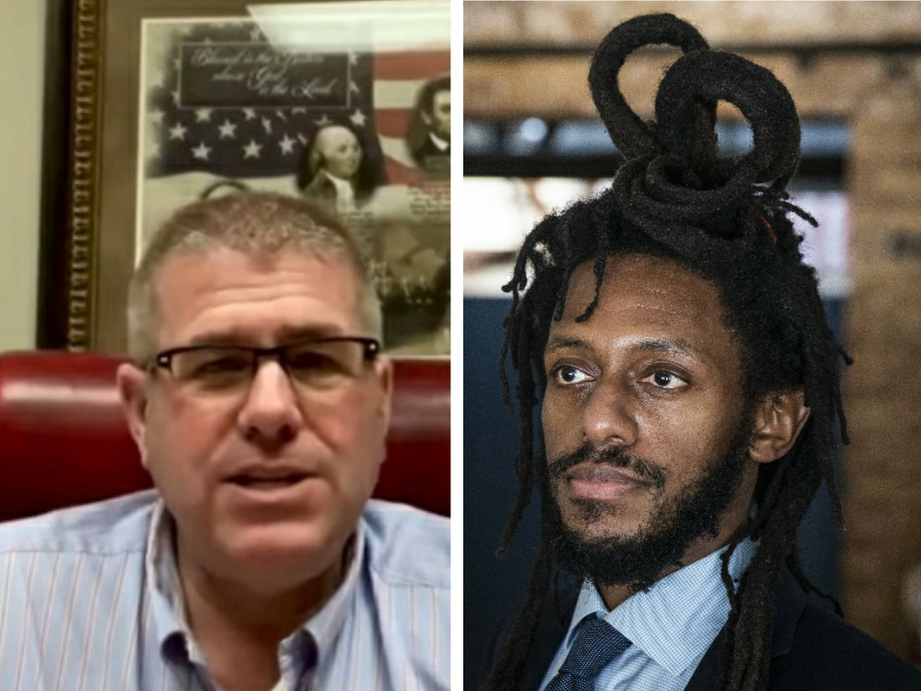 State Sen. Darren Bailey, R-Xenia, left, earlier this month; State Sen. Mike Simmons, D-Chicago, right, in February.