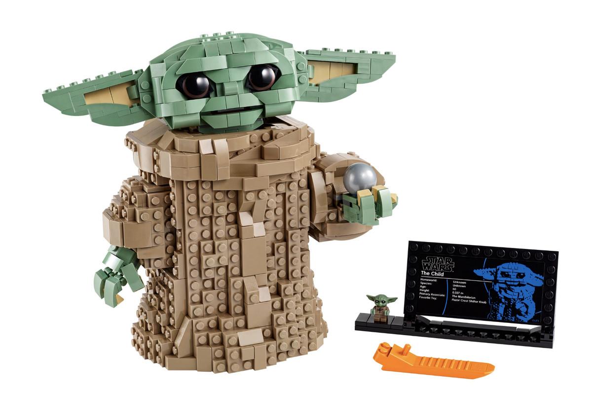 Product shot of the Baby Yoda Lego set
